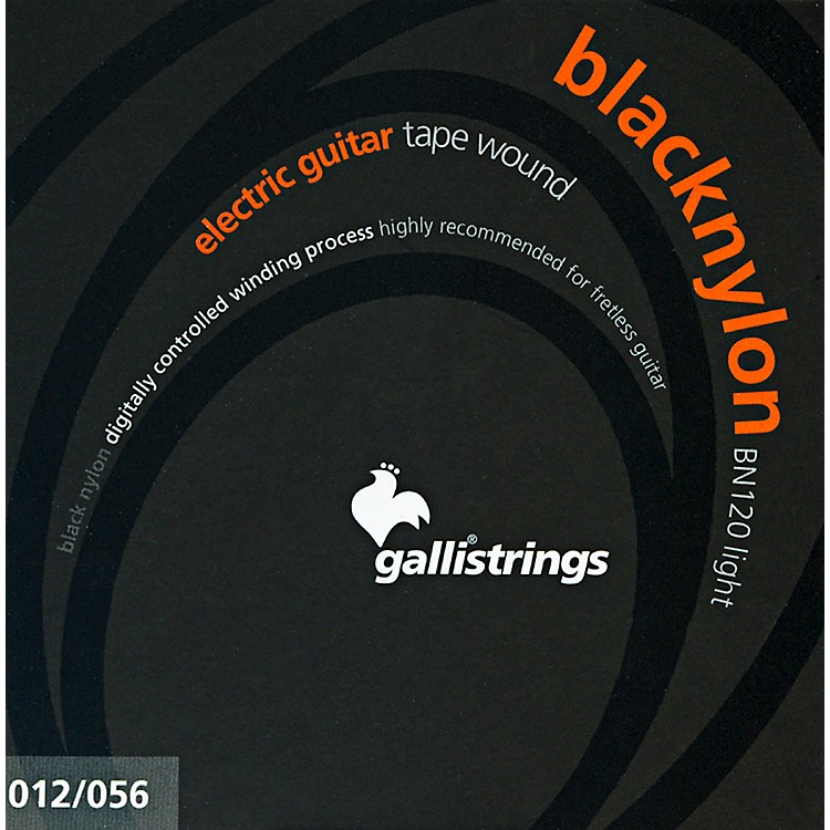 Galli Strings BN120 BLACK NYLON TAPE WOUND Light Electric Guitar Strings 12-56