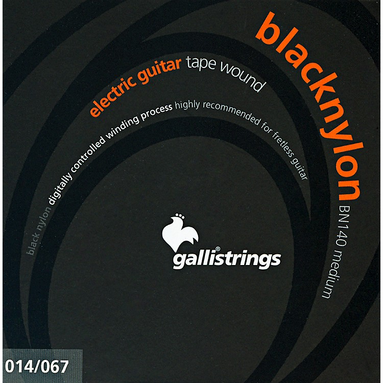 Galli Strings BN140 BLACK NYLON TAPE WOUND Medium Electric Guitar Strings 14-67