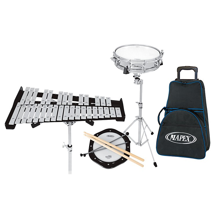 Mapex backpack snare drum and bell percussion kit with for Yamaha student bell kit with backpack and rolling cart