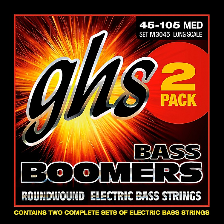 GHS Bass Boomers Standard Long Scale Roundwound Medium Light Electric Bass Strings 2-Pack 2 PACK BASS BOOMERS MED LIGHT