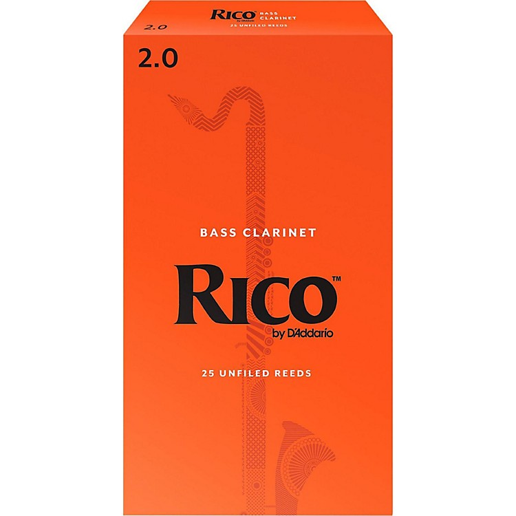 Rico Bass Clarinet Reeds, Box of 25 Strength 2