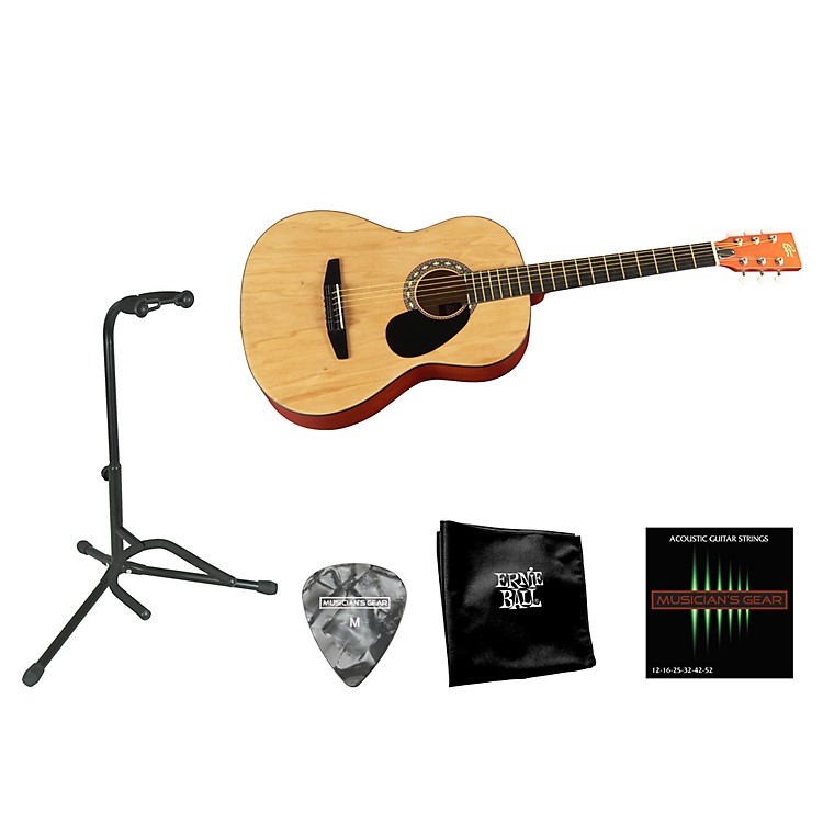 Rogue Beginner Acoustic Dreadnought 7/8 Guitar with Accessory Pack Natural