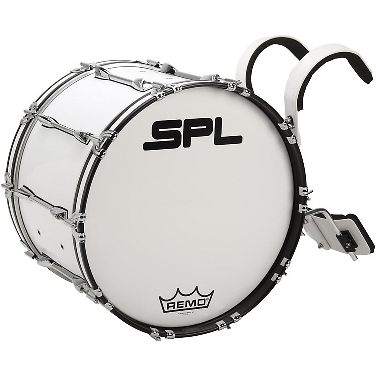Sound Percussion LabsBirch Marching Bass Drum with Carrier24 x 14 in.White