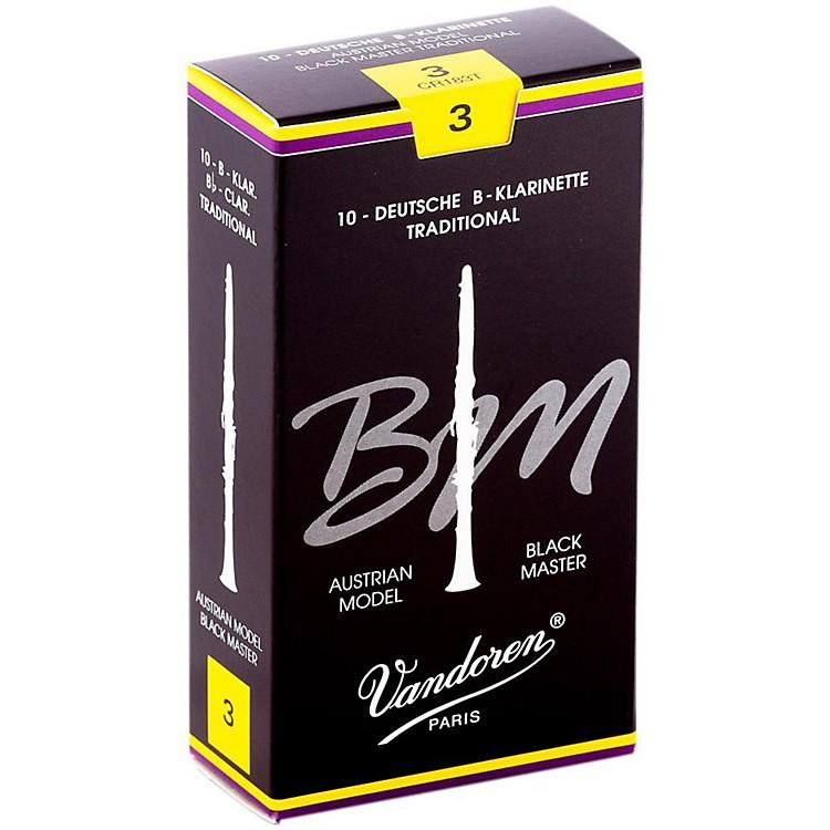 VandorenBlack Master Traditional Bb Clarinet ReedsBox of 10, Strength 3