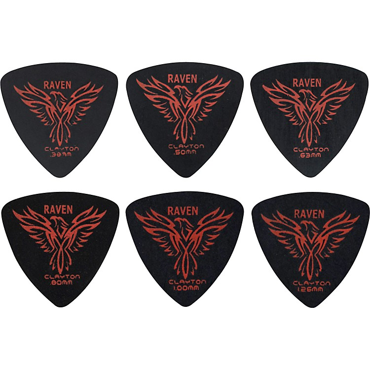 Clayton Black Raven Rounded Triangle Guitar Picks .38 mm 1 Dozen