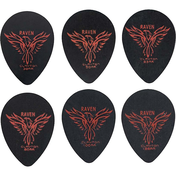 Clayton Black Raven Small Teardrop Guitar Picks .38 mm 1 Dozen