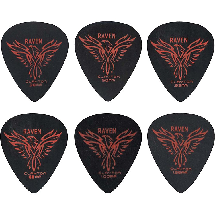 Clayton Black Raven Standard Guitar Picks .63MM 1 Dozen