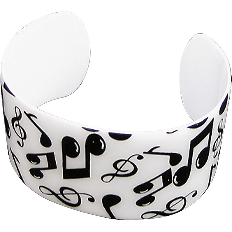 AIM Black/White Musical Notes Cuff Bracelet