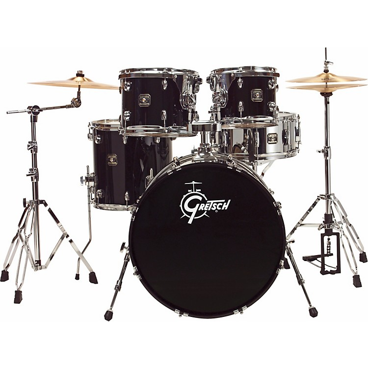 Gretsch Drums Blackhawk 5-Piece Euro Drum Set with Sabian Cymbals Liquid Black