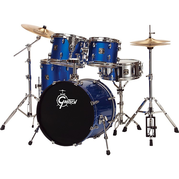 Gretsch Drums Blackhawk 5-Piece Euro Drum Set with Sabian Cymbals Metallic Liquid Blue