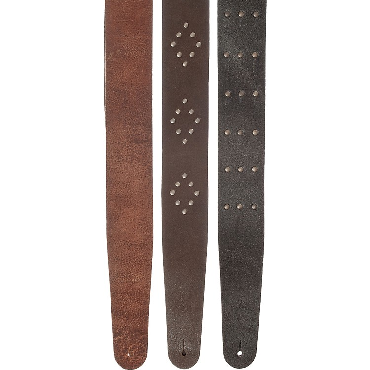 Planet Waves Blasted Leather Guitar Strap Black Riveted Rows