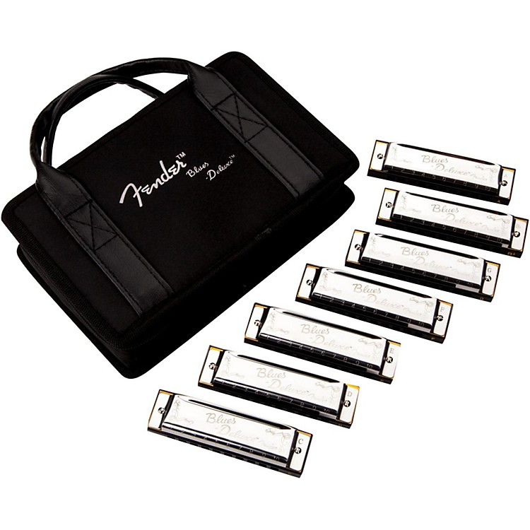 FenderBlues Deluxe Harmonica Set (7-Pack with Case, Keys of C, G, A, D, F, E and Bb)