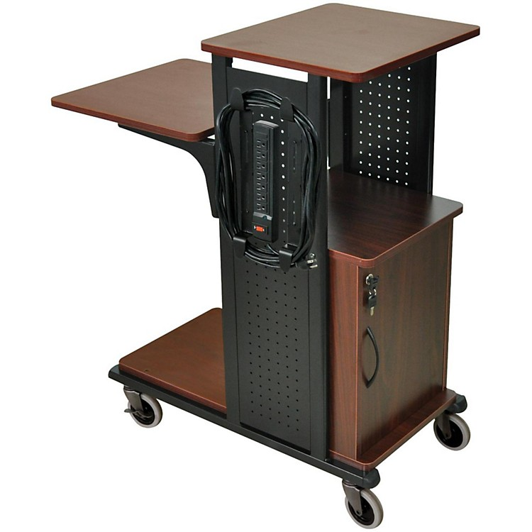 H. Wilson Boardroom Presentation Station with Locking Cabinet Black Cherry Medium