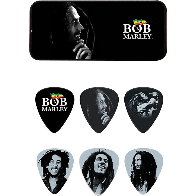 DunlopBob Marley Silver Pick Tin with 6 Heavy Picks