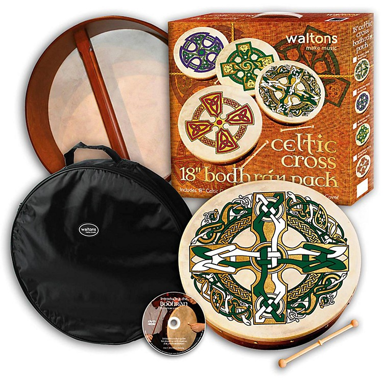 Walton Music Bodhrán Gift Pack Celtic Cross 18 in.