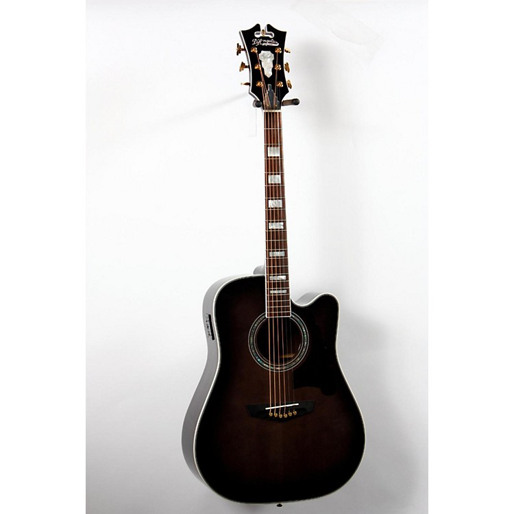 D'Angelico Bowery Dreadnought Cutaway Acoustic-Electric Guitar Gray-Black 888365687780