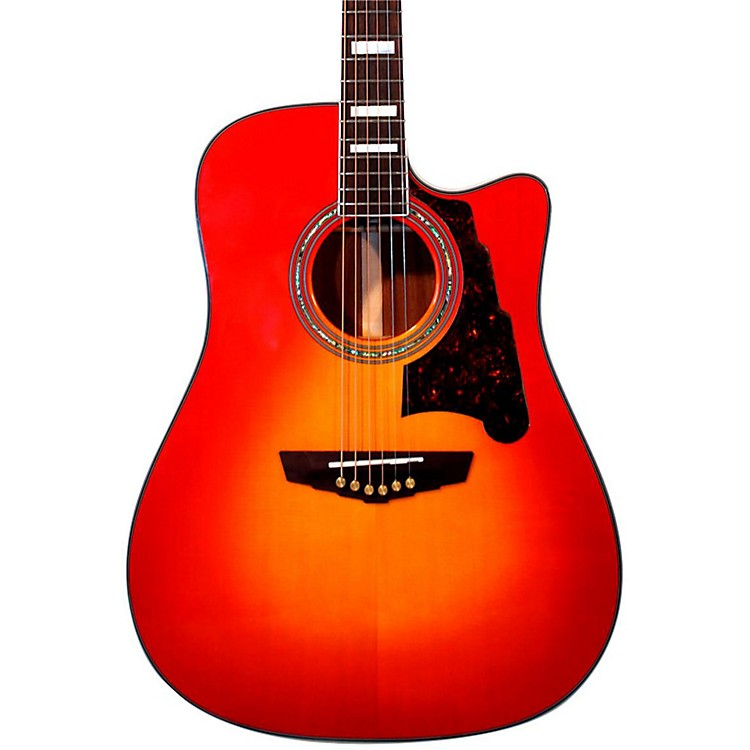 D'Angelico Brooklyn Dreadnought Cutaway Acoustic-Electric Guitar Cherry Sunburst