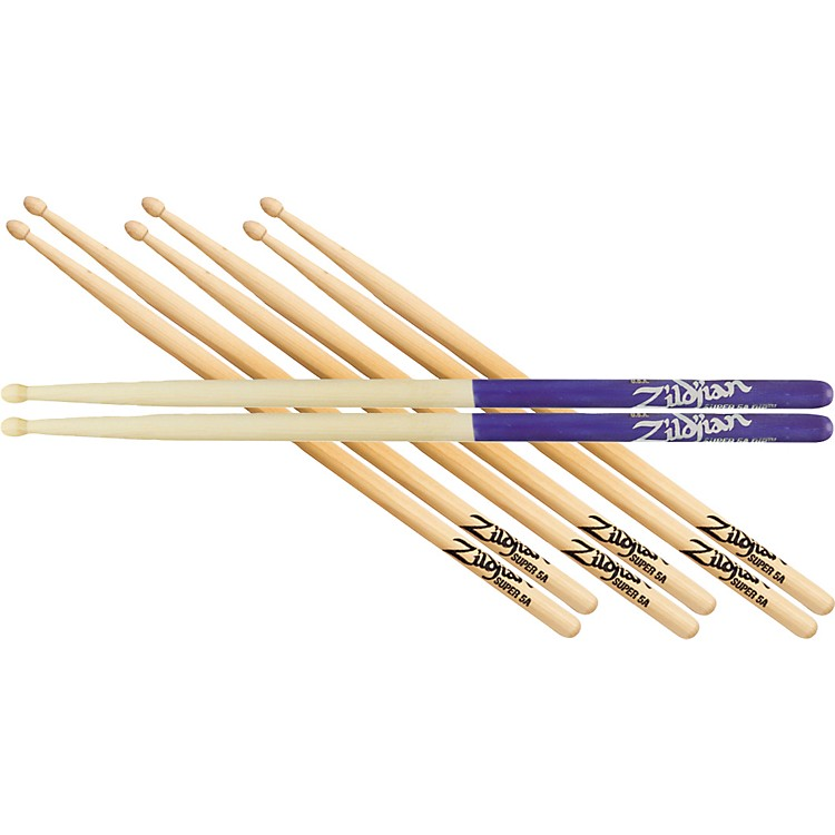 Zildjian Buy 3-Pr Super 5AW Get 1-Pr 5AW Purple Dip Drumsticks Free