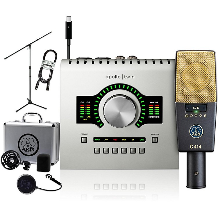 AKG C414 XL II with Universal Audio Apollo Twin Duo Package - Includes Thunderbolt Cable