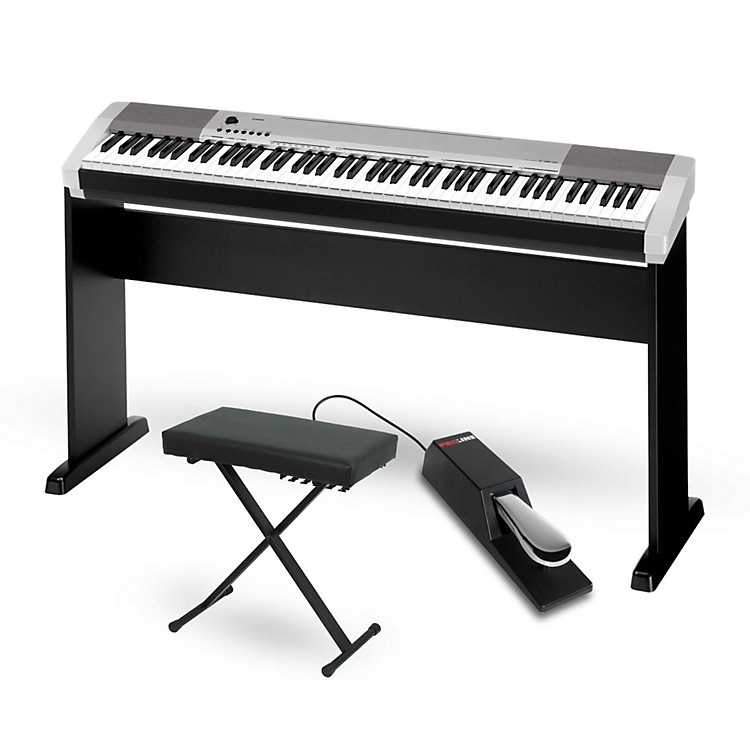 CasioCDP-130 Digital Piano Silver with CS44 Wood Stand Sustain Pedal and Deluxe Keyboard Bench