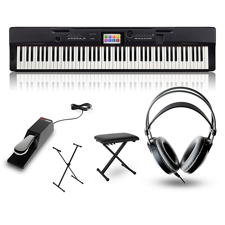 CasioCGP-700BK Digital Compact Grand Piano with Stand, Sustain Pedal, Deluxe Keyboard Bench and Headphones