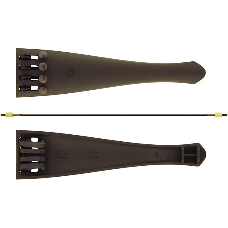 Otto Musica Carbon Composite Cello Tailpiece with Four Built-In Fine Tuners and Braided Steel Tailgut 3/4 - 1/2 Cello