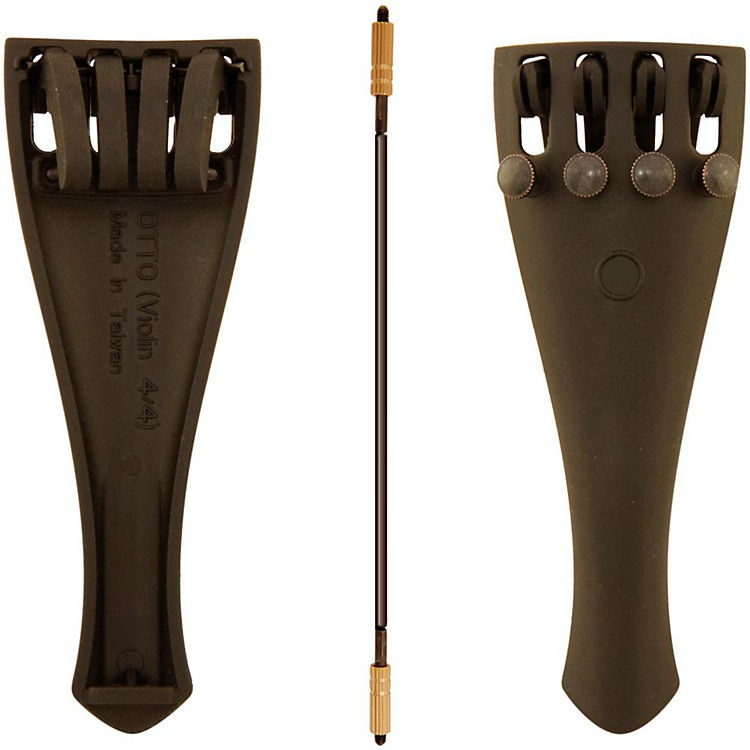 Otto Musica Carbon Composite Violin Tailpiece with Four Built-In Fine Tuners and Braided Steel Tailgut 1/8 Violin