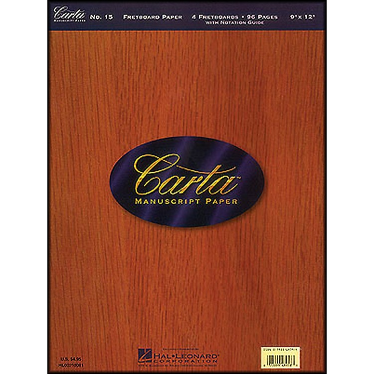 Hal LeonardCarta 15 Scorepad 9X12, Fretboard Paper 96 Pg, 4 Diagrams/Page Manuscript
