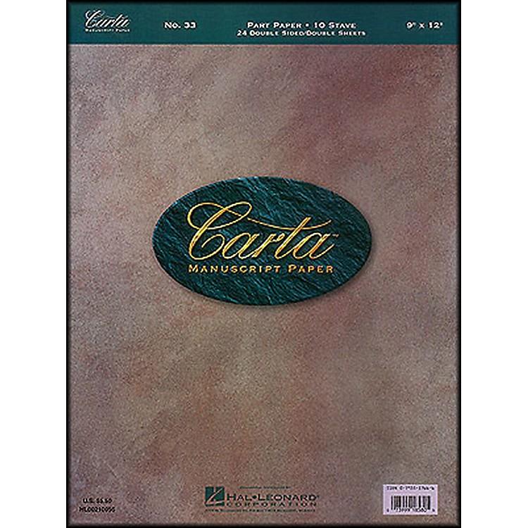 Hal LeonardCarta Manuscript 33 Part Paper 9 X 12, Double Sheets, Double Sided, 24 Sheets,10 Staves