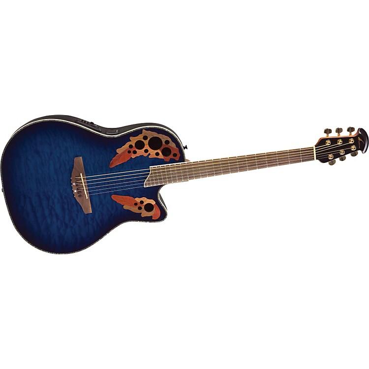 OvationCelebrity CC44 Mid-Depth Contour Acoustic-Electric GuitarBlue Transparent Quilt