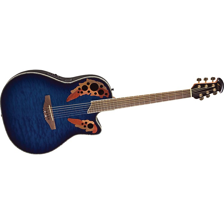 Ovation Celebrity CC44 Mid-Depth Contour Acoustic-Electric Guitar Transparent Blue Quilt
