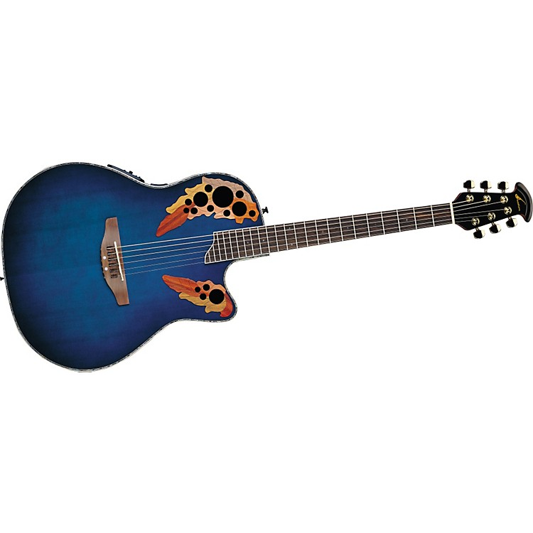 Ovation Celebrity Deluxe SS CC48 Acoustic-Electric Guitar Blue Transparent