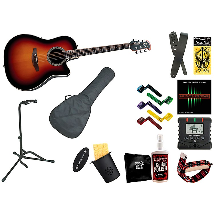 Ovation Celebrity Mid-Depth Acoustic-Electric Guitar Bundle