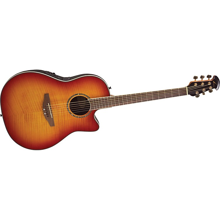 Ovation Celebrity SS Super Shallow Contour Acoustic-Electric Guitar Honey Burst Flame