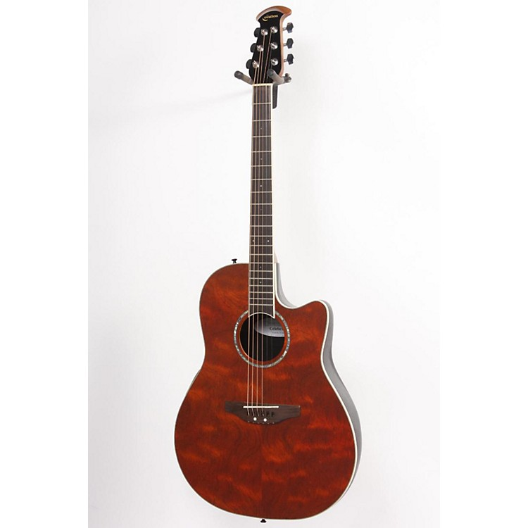 Ovation Celebrity SS Super Shallow Contour Acoustic-Electric Guitar Amber Waterfall Bubinga 886830816260