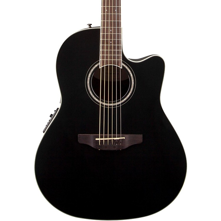 Ovation Celebrity Standard Mid-Depth Cutaway Acoustic-Electric Guitar Black