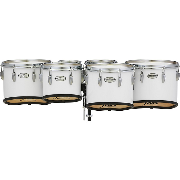 Pearl Championship Maple Marching Tenor Drums Sextet Sonic Cut 6, 8, 10, 12, 13, 14 in. Pure White #33