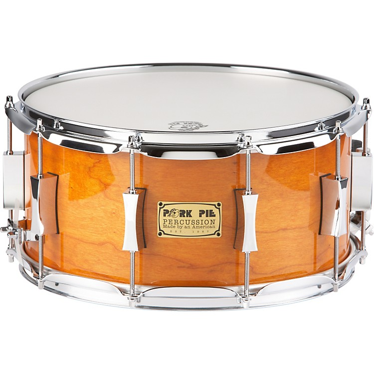 Pork Pie Cherry Pie Cherry/Bubinga  Snare Drum 14 x 7 Candy Orange
