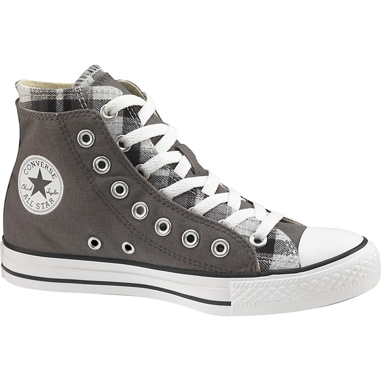 Converse Chuck Taylor All Star High Top Double Upper Plaid Shoes Grey 10