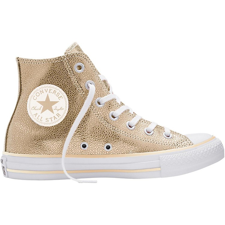 Converse Chuck Taylor All Star Stingray Metallic Hi Top Light Gold (Women's) 5