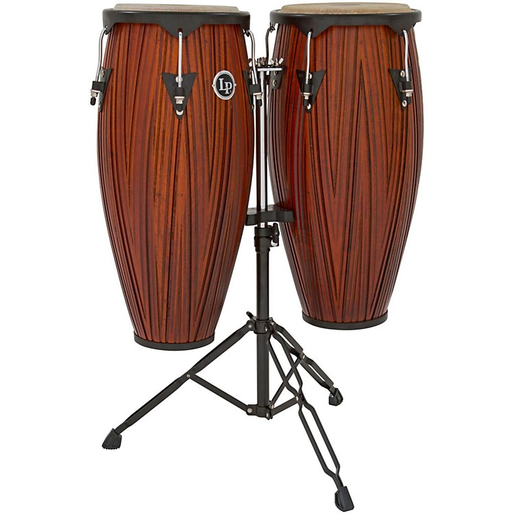 LP City Conga Set with Double Stand Carved Mango/Mahogany Wood 10 in. and 11 in.