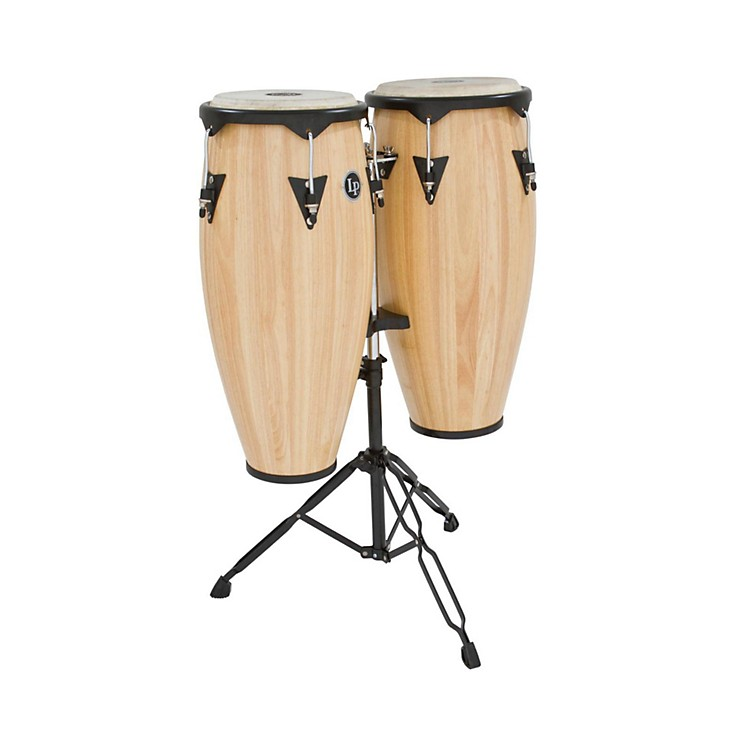 LP City Conga Set with Double Stand Natural Wood 10 in. and 11 in.