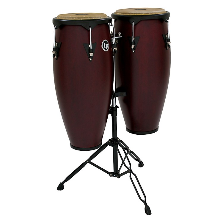 LP City Wood Conga Set w/ Double Stand Dark Wood 10 Inch & 11 Inch