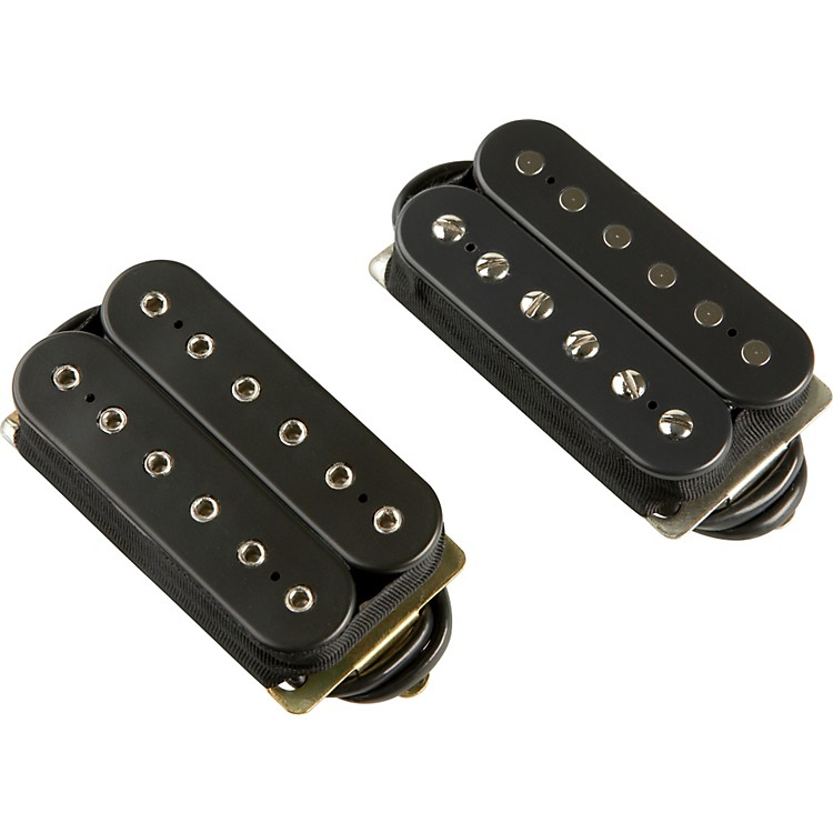 DiMarzio Classic Rock Humbucker Pre-Wired Pickup Set - Long Shaft Pots Black F-Spaced