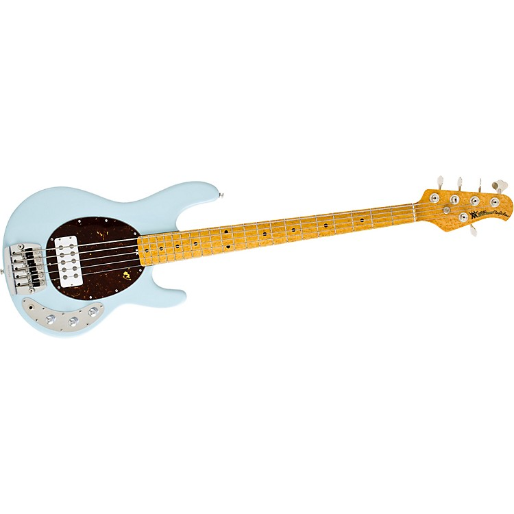 Music Man Classic Stingray 5 Electric Bass Guitar Powder Blue Maple Fretboard with Birdseye Maple Neck