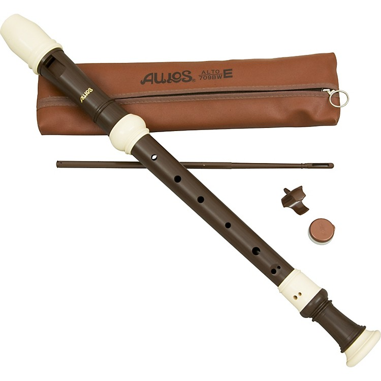 Aulos Classroom Recorder Alto 3 Piece English Woodgrain Finish A709Bw