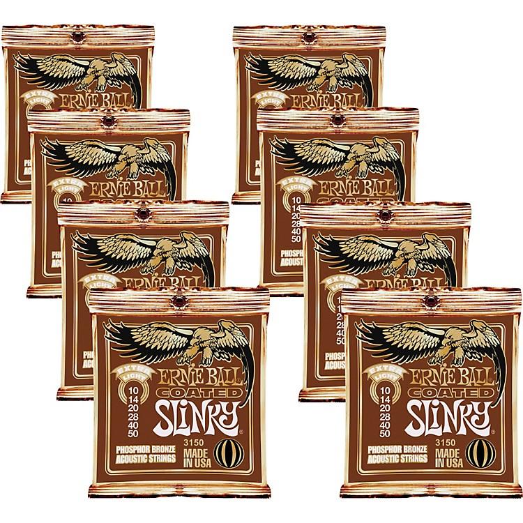 Ernie BallCoated Slinky Phosphor Bronze Acoustic Strings Extra Light - 8 Pack