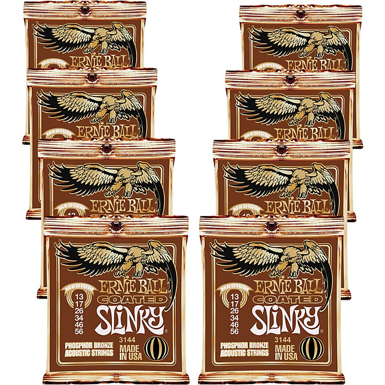 Ernie Ball Coated Slinky Phosphor Bronze Acoustic Strings Medium - 8 Pack