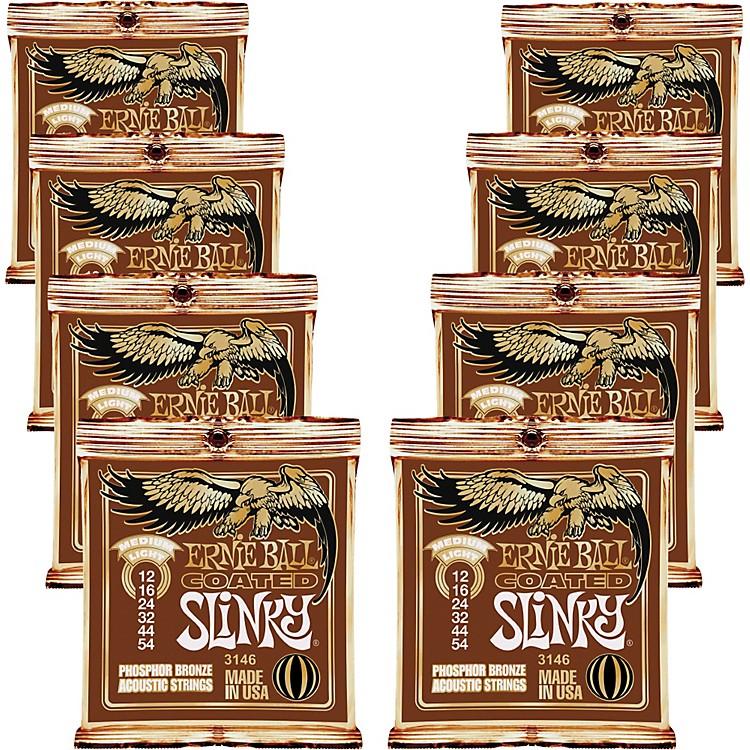 Ernie BallCoated Slinky Phosphor Bronze Acoustic Strings Medium Light - 8 Pack