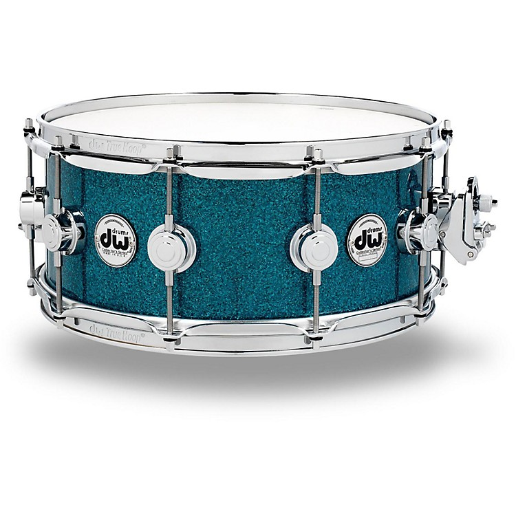DW Collector's Series Finish Ply Teal Glass Snare Drum with Chrome Hardware 14 x 6 in.